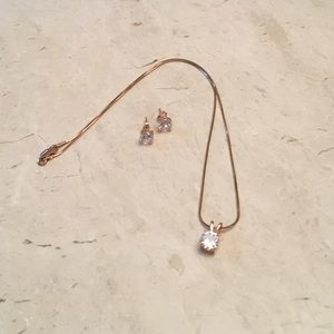 Jewelry - Rose Gold Plated over Sterling Cz Set
